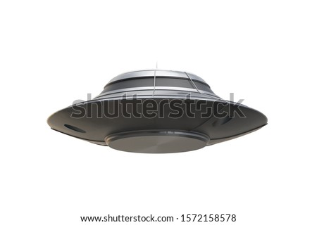UFO flying saucer isolated 3d rendering, 3d illustration