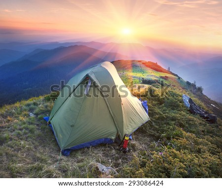 Ukraine - Marmarosh mountain when the snow melts and becomes warmer - in the spring and summer is pleasant to put up tents on the top of the mountain - it\'s fantastic fairytale beautiful and romantic