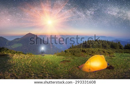 Ukraine - Marmarosh mountain when the snow melts and becomes warmer - in the spring  summer is pleasant to put up tents on the top of the mountain - it\'s fantastic fantastically beautiful  romantic