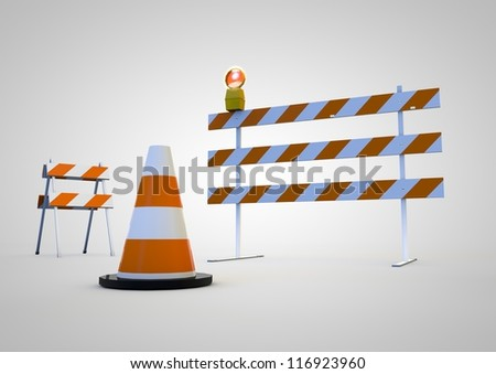 Under construction barriers & Traffic cone, Isolated on white background