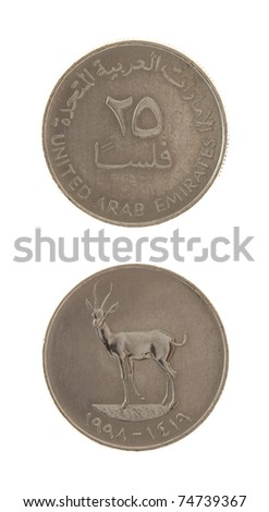 20 United Arab Emirates Fils coin isolated on white