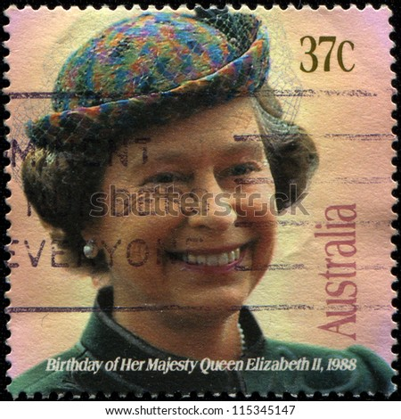 UNITED KINGDOM - CIRCA 1988: A stamp printed in the Great Britain shows Her Majesty the Queen Elizabeth II,  birthday, circa 1988