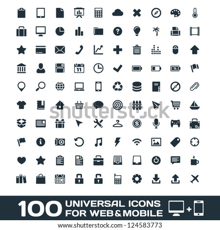 100 Universal Icons For Web and Mobile raster copy of vector file