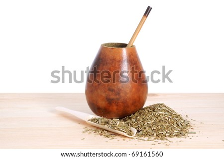 ?up from calabash and straw with dry mate leaves - traditional drink of Argentina.