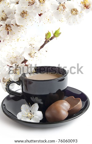 Ð¡up of coffee with chocolate