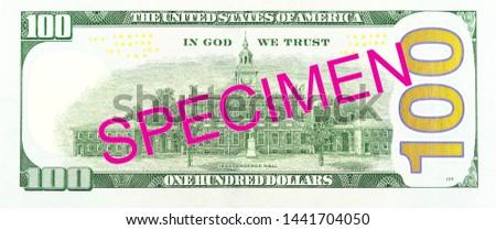 100 us-dollar bank note reverse specimen #1441704050