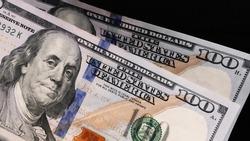 200 US dollar bills closeup