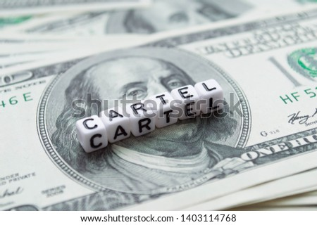 100 US dollars banknotes. American currency. Word Cartel in cubes Foto stock ©