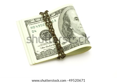100 US dollars chained on white background
