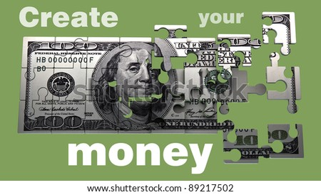 100 US dollars the Puzzle. High resolution 3D image  Create your money.