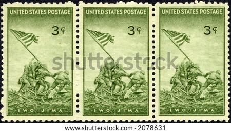 1945 US stamp  Commemorating the raising of the flag at Iwo Jima