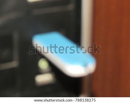 usb portable drive connected to your computer for data transfer   blurry picture             #788138275