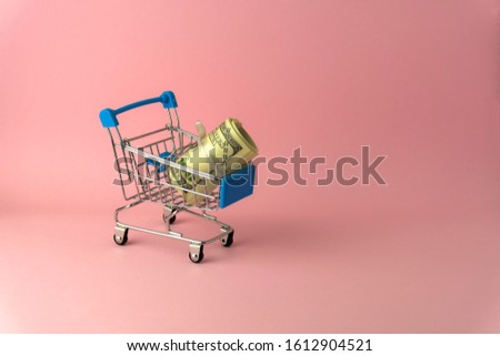 100 USD roll inside small shopping trolly cart isolate on pink color background space use as online shopping business concept