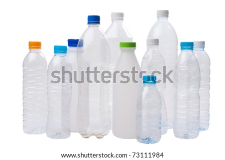 used plastic bottles isolated on white