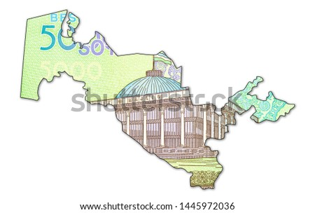 5000 Uzbek Som banknote reverse in shape of Uzbekistan #1445972036