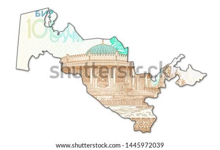1000 Uzbek Som banknote reverse in shape of Uzbekistan #1445972039