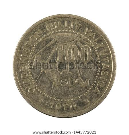 100 Uzbek som coin (2004) obverse isolated on white background #1445972021