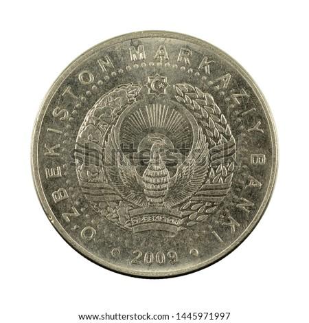 100 Uzbek som coin (2009) reverse isolated on white background #1445971997