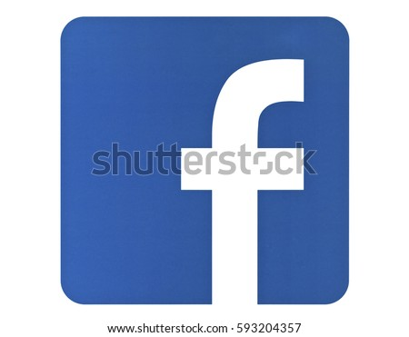 Valencia, Spain - March 05, 2017: Facebook logo sign on white background printed on paper. Facebook is a well-known social networking service.