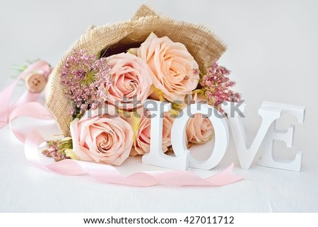 Valentine Day postcard.Floral gift for a wedding or birthday.