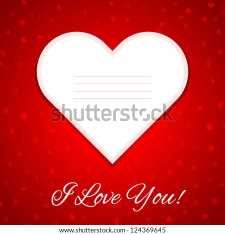valentine's day gift card with ornaments on heart. Happy Valentine's Day. Raster version.