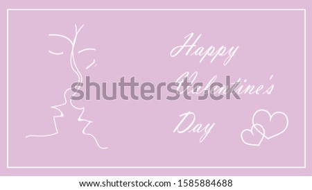 Valentine's day on a pink background. He and she. Face to face. Lettering Happy Valentine's Day. Place for copy \ text