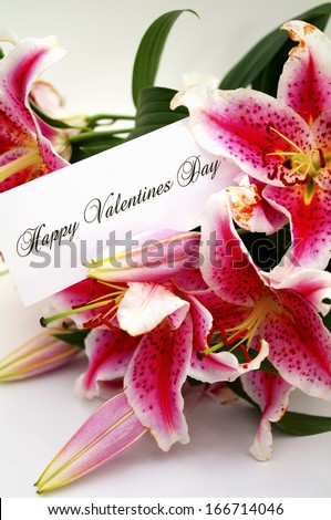 valentines day greeting card with liliums
