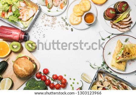 Various foods, fruits and healthy products on a white background. space for text. healthy food