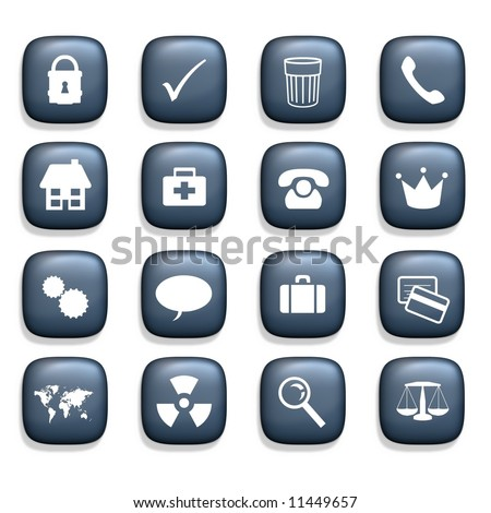 16 Various icons over a white background