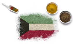 Various spices forming the flag of Kuwait.(series)