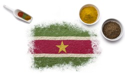 Various spices forming the flag of Suriname.(series)