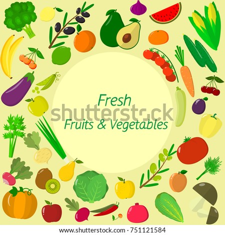 vegetables icons set in cartoon style. Collection farm product for restaurant menu, market label. Flat design. #751121584