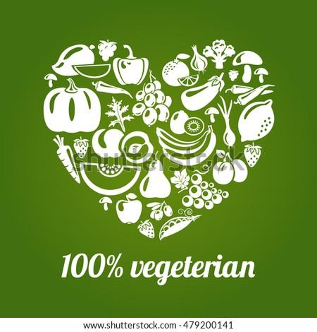 100 % vegetarian. Concept heart icon made of green peas, eggplant, potato, carrot, pumpkin, avocado, grapes, apple, peach, kiwi, lemon, radish, pepper, chili, garlic, strawberries, broccoli, banana