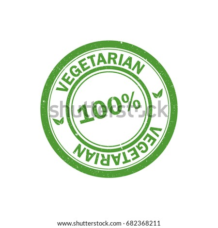 100% vegetarian stamp. Vegan logo. Green food watermark. Icon
