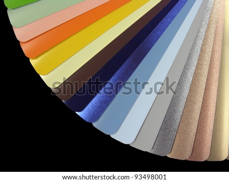 venetian blinds color chart, isolated on black - stock photo