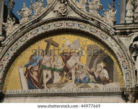 Venice - The basilica St Mark\'s. Mosaic from upper facade .  \'Descent into Limbo\' Mosaic