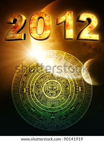 2012. Vertical background with Maya calendar