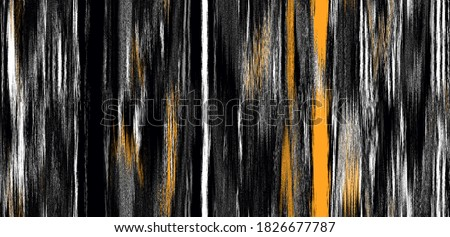 Vertical ikat gradient ,ombre seamless plain pattern  in natural  black, orange white with  zig zag, stripe, abstract background for textile design, wallpaper, surface Japanese background. Ethnic