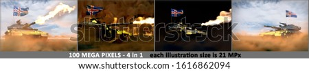 4 very high resolution pictures of heavy tank with design that not exists and with Iceland flag - Iceland army concept, military 3D Illustration