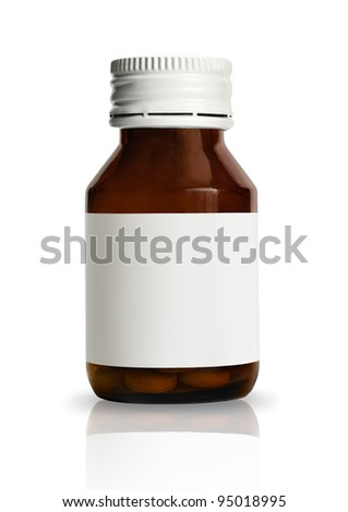 Vial of pills with blank label, isolated on white background