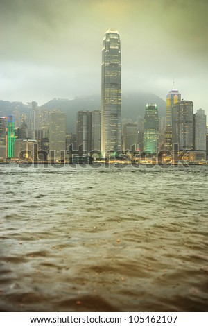 Victoria Bay in the rain. Hong Kong