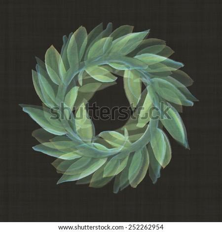 victory laurel wreath ancient roman Watercolor art leaf illustration