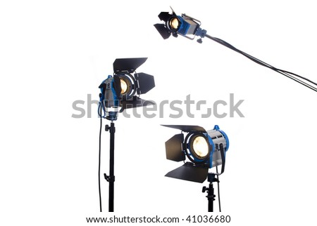 3 video or movie lamps isolated