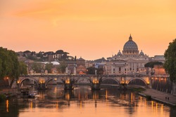 view at St. Peter's cathedral in Rome, Italy at twilight