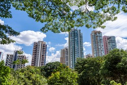 view from inside the Ceret park in the Jardim Analia Franco neighborhood in São Paulo. Nature concept between buildings.