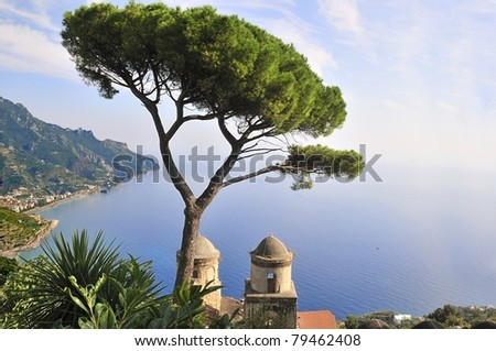 View from Villa Rufolo in the town of Ravello, Italy