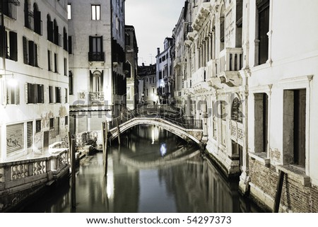 View of a canal in Venice during night