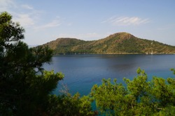 View of Aktur bay of water from high angle. Marmaris, Matca, Turkey.