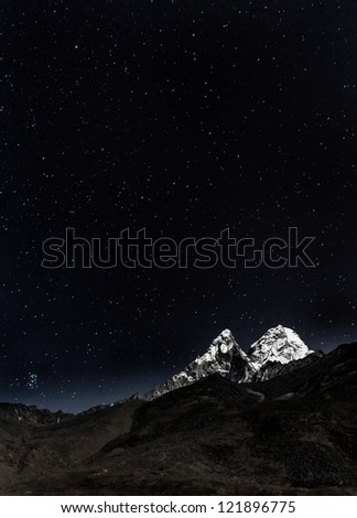 View of Ama Dablam in the Moonlight - Nepal, Himalayas