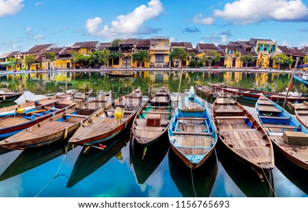 View of boats on busy river in Hoi An, Vietnam. Hoi An is the World's Cultural heritage site.                                                              Stockfoto ©